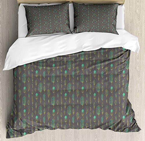 Scott397House Feather King Bedding Duvet Cover 3 Piece, Boho Style Pattern Sketch, Soft Bedding Protects Comforter with 1 Comforter Cover And 2 Pillow Case, Dark Purple Grey Turquoise Marigold