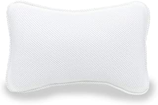 Comfort Bathtub Bath Pillow Head Neck Support with Strong Suction Cups Washable 3D Air Mesh Material Fit Any tub, White