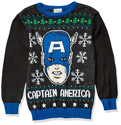 Marvel Boys' Ugly Christmas Sweater, Captain America/Black, Small (6/7)