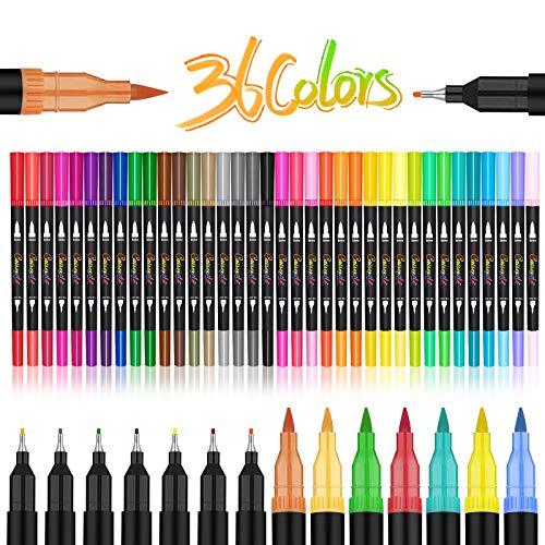 Juego de 36 rotuladores artísticos de doble punta, 72 puntas finas y punta de pincel para niños, libro para colorear para adultos, tomar Bullet Journal Lettering Calligraphy Drawing
