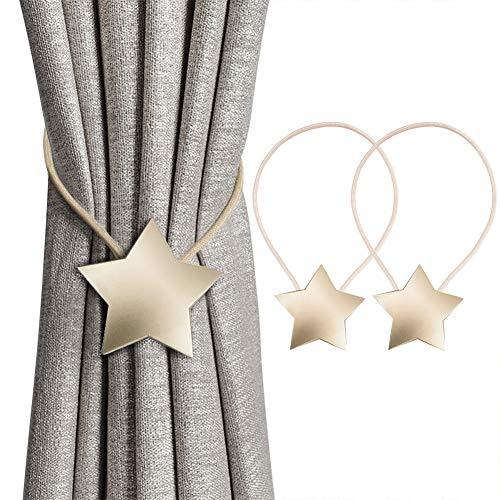 INHDBOX Magnetische Vorhang Raffhalter Kreativ Vorhang Clips Seil Rückwärtige Vorhang Halter Schnallen Vorhang Binder Gardinenhalter für Haus Dekoration 2 Stück