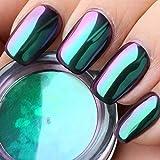 DR.MODE 1g / topf Chameleon Multi-Chrom Nagel Pulver Spiegeleffekt Farbwechsel Nagel Pulver Ombre Grün Pigment (Opal)