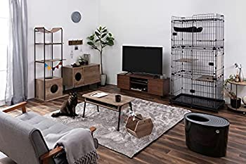 Iris Ohyama, Maison de toilette pour chat avec couvercle à rainures, entrée par le haut et pelle - Top Entry Cat Litter Box - PUNT-530, plastique, noir, 57,2 x 41,7 x 38 cm