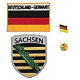 A-ONE 3 Stück – Deutschland-Sachsen-Stadt-Abzeichen + Deutschland-Flagge rechteckiger Aufnäher + Deutschland-Flagge Anstecknadel Ranger-Aufnäher, Aufnäher, Emaille-Abzeichen