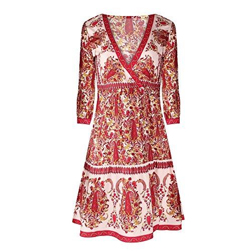 URVIP Damen's Sexy Vintage Bohemian Strandtunika Sommerkleid Tunikakleid Bluse BAK-001 Rot XL