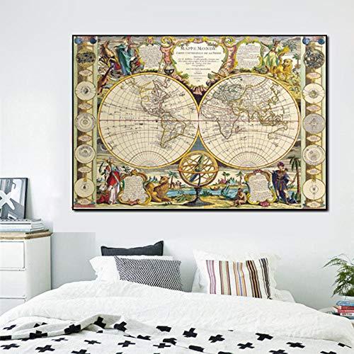 caomei Edad Media Mapa del Mundo Lienzo Pintura Carteles e Impresiones Cuadros de Gran tamaño para la decoración de la Oficina en el hogar Cuadros -60x80cm (sin Marco)