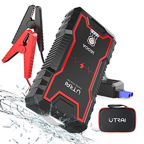 UTRAI Auto Starthilfe Jump Starter 12V 1600A Sicherheitshammer Powerbank Tragbare Starthilfe Auto für 7.0L Benzin oder 6.5L Diesel Dual USB, LED Taschenlampe Jstar Zero