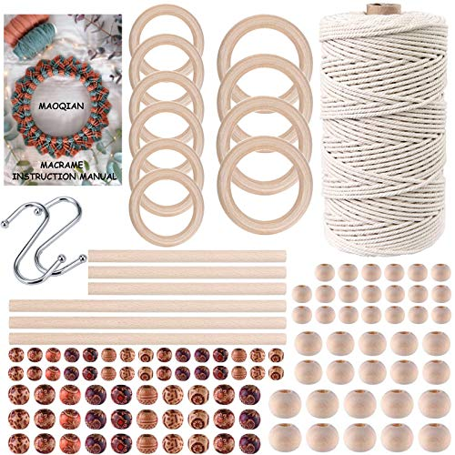 120pcs Macrame Kits for Beginners 3mm x 109yards Natural Cotton Macrame Cord with Wooden Beads,Wooden Rings,Wooden Sticks,Metal Rings Macrame Supplies Best for Macrame Plant Hanger