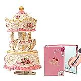 LOVE FOR YOU Carousel Horse Music Box Mechanism Musical Unicorn for Women Kids Baby Girls mom Daughter Granddaughter Children's Day Gift Birthday Gift Valentines Day Gift (Pink-White)