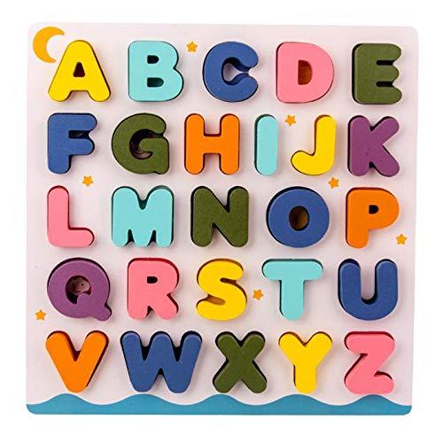 Perfeclan Rompecabezas de Madera para niños pequeños, Juego de Mesa de Aprendizaje con Letras y números Superiores, Rompecabezas de Aprendizaje Educativo para - Alfabeto