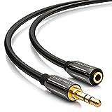 deleyCON 3m Stereo Audio Klinken Verlängerungskabel - 3,5mm Klinken Buchse zu 3,5mm Klinken Stecker - AUX Kabel Metallstecker - Schwarz