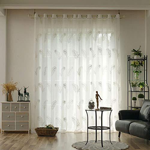 PENVEAT Elegante besticktem Tüll Vorhänge für Wohnzimmer Schlafzimmer Küche Weiße Feder-Voile Gardinen für Fenster Tüll, weiß, W600xL250cm 1pieces, 1.Rings Oben