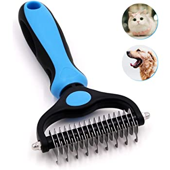 Jaswell Pet Grooming Tool- 2 Sided Undercoat Rake for Dogs &Cats-Safe and Effective Dematting Comb for Mats&Tangles Removing-No More Nasty Shedding or Flying Hair