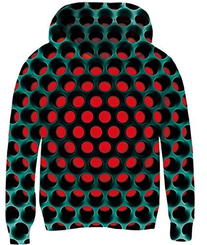 AIDEAONE 3D Print Graphic Hoodie Sweatshirts Langarm Baumwolle Pullover Hoodies für Jungen Mädchen,Farbe:Diamond 1,XL(140-150cm)