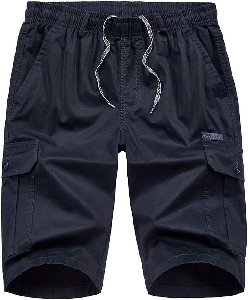 ICEGREY Men's Solid Color Work Shorts Casual Cotton Cargo Shorts