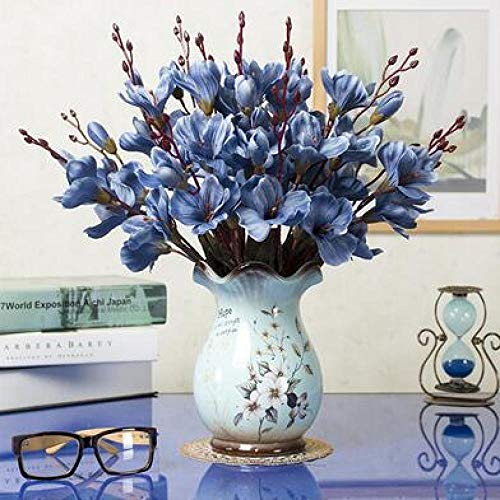 Vase Moderne Porzellan Keramik Vase + Künstliche Blume Set Ornament Dekoration Handwerk Handwerk Couchtisch Gefälschte Blumen Topffiguren Stil16