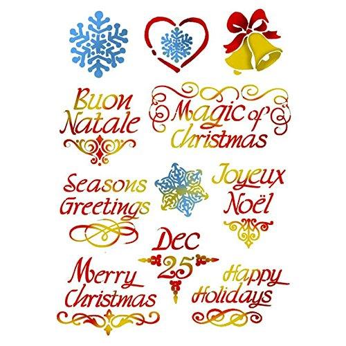 Mascherina per decorazioni 'Stencil' KSG383 'Auguri di Natale' cm.21x29,7