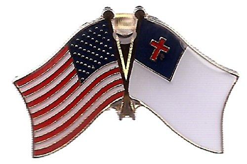 AES Wholesale Pack of 6 USA American & Christian Christ Cross Flag Bike Hat Cap lapel Pin