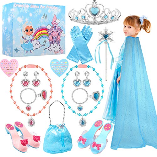 TwobeFit Accessori per Costumi da Principessa, Gioielli per Scarpe da Principessa con Scarpe, Mantello Blu, Collana, Guanti, Bacchetta, bracciali e Orecchini per Regalo di Natale per Ragazze
