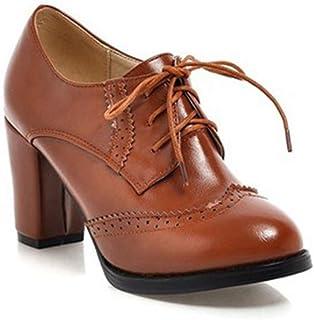Bonrise Women's Lace Up Platform Oxford Pump Wingtip Perforated Chunky High Heel Vintage Dress Oxfords Shoes