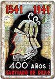 Cartel de estaño para decoración de pared de Santiago de Chile de metal, 20,3 x 30,5 cm, para garaje, bar, restaurante y club