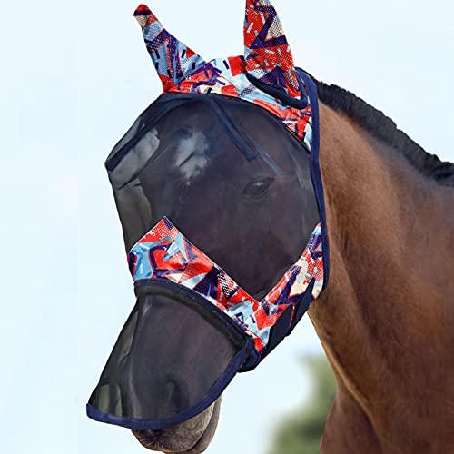 Harrison Howard CareMaster Máscara de mosca de caballo Nariz larga con orejas Protección UV para caballo-Graffiti abstracto (L)