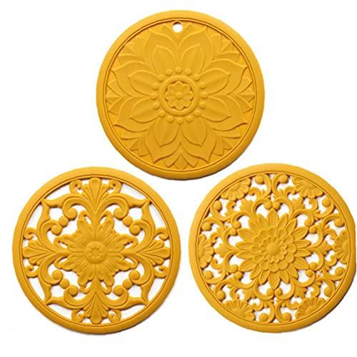 AUCDK Salvamanteles Mat Pot Cojín del Aislamiento De Calor Coaster Hueco Tallado De Silicona Antideslizante Flexible para 3pcs Encimera Amarillas