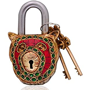 Purpledip Lion Shaped Brass Lock Padlock Handmade Antique Design With Colorful Gemstone Work; Unique Collectible Combination Of Style & Security (10699):Isfreetorrent