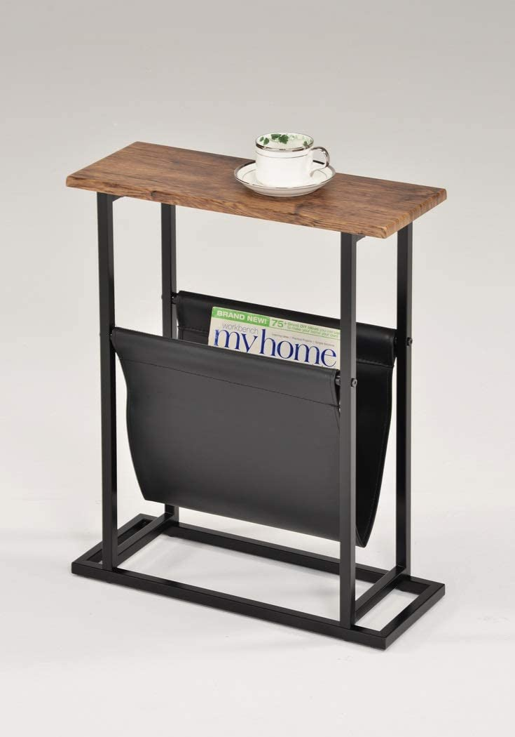 Vintage Brown Oak/Black Metal Modern Slim Side End Table with Magazine Holder Sling