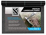 K-Brands Landscape Fabric 3 ft X 100 ft – 5oz Heavy Duty Weed Barrier and Blocker – Geotextile Fabric Ground Cover for Outdoor Gardening with High Permeability and Easy Setup