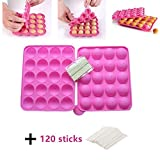 BPA Free Silicone Cake Pop Mould, Lollipop Silicone Molds, Muffin Cake Ice Cube Trays 120 Sticks Gumdrop Jelly Moulds- Pink