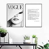 JTM Nordique Abstrait Fille Vogue Noir Et Blanc Deux Pièces Affiches Et Gravures Mur Art Toile Peinture Mur Photos Art sans Cadre (30x40 cm)