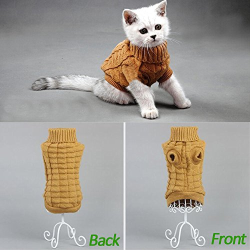 Bolbove Cable Knit Turtleneck Sweater for Small Dogs & Cats Knitwear Cold Weather Outfit (Brown, Small)