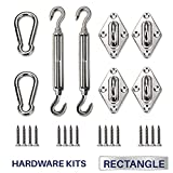 Windscreen4less Sun Shade Sail Hardware Kit - 8 Inches - Super Heavy Duty - For Rectangle and Square Sun Shade Sail