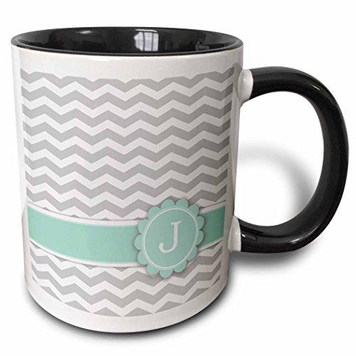 3dRose mug_154229_4 Letter J Monogrammed On Grey And White Chevron With Mint Becher, keramik, schwarz