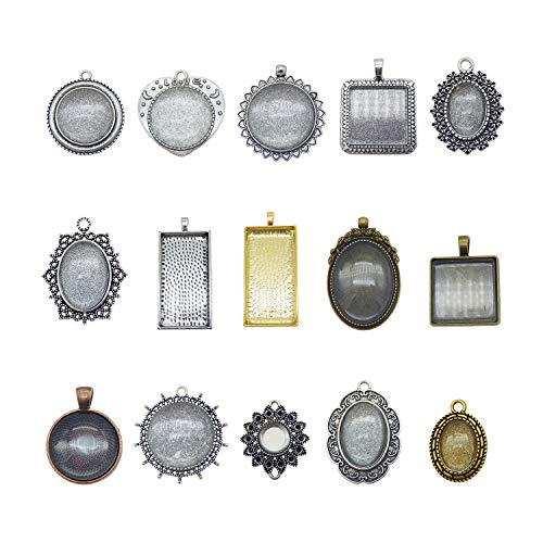 Julie Wang 15 Sets Mixed Setting Tray Pendant with Glass Cabochons Bronze Silver for Jewelry Making