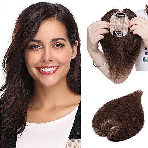 35cm - Topper Capelli Veri Donna con Clip #4 Marrone Cioccolato Extension Fascia Unica 23g Remy Human Hair Toupet Capelli Vergini