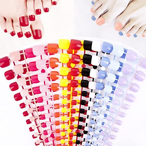 FLOFIA 288pcs Uñas Falsas Postizas Cortas de Pies 12 Colores, Puntas Uñas Postizas Acrilicas para Pies, Tips Uñas Artificiales , 12 Tamaños