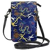Monedero para teléfono celular, diseño de dragones marinos, anclas, barco, bolsa pequeña, monedero para mujeres y niñas