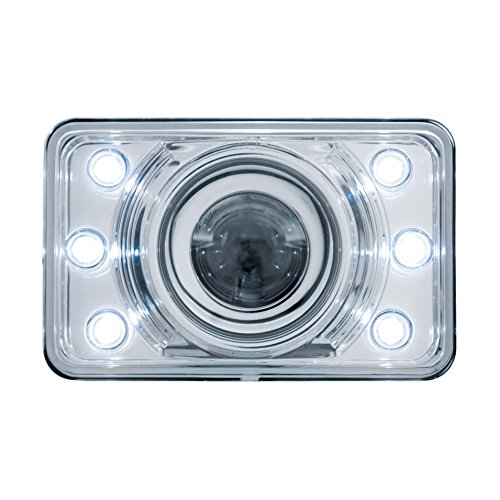 """United Pacific 31375 White 4"""" X 6"""" Crystal Projection Headlight With 6 Led Position Light - Low Beam"""