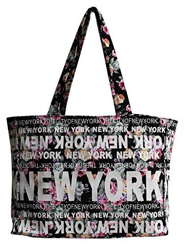 Robin Ruth New York Floral Cotton Tote Shoulder Bag (Black)