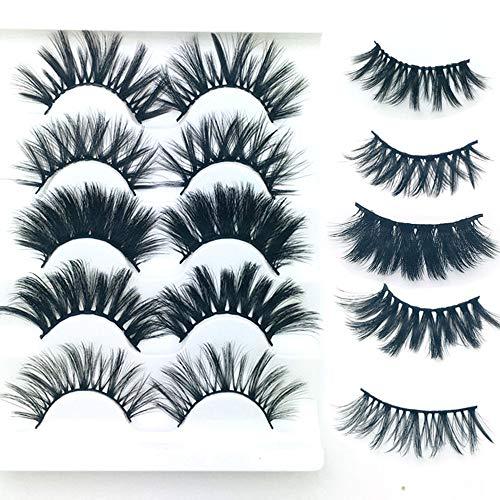 Fake Eyelashes, 3D Faux Mink Falses Eyelashes- 5 Pairs Hand-made Thick Long Multilayer Fluffy False Eye lashes Natural Soft Reusable Dramatic Fake Eye Lashes For Makeup