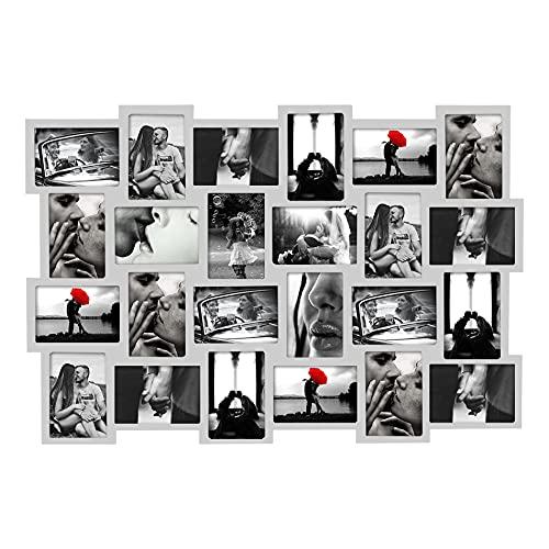 Rebecca Mobili Marco de Fotos múltiple, Collage de Fotos para Colgar, 24 Espacios tamaño 10 x 15, Decoraciones para el hogar - Medidas: 61 x 92 x 1,2 cm (AxANxF) - Art. RE4513