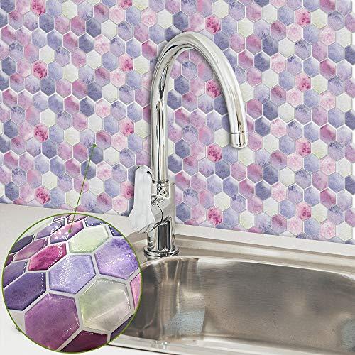 YIBOKANG Moda En Polvo Creativo Púrpura Hexagonal 3D Baño Dormitorio Decorativo Baldosas Pasta Autoadhesivo Impermeable Anti-contaminación Alta Temperatura Cocina Goteo Pegatinas De Pared