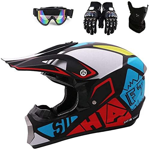 HENGHA Motorcycle Helmet,Full Face Unisex Bike Enduro Downhill ATV/BMX Off Road Helmets,Set with Glasses,Scope of Delivery Gloves Mask,Children's Cross Helmet,D.O.T Certification (L)