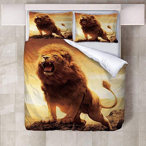 3 Pieces Duvet Cover Set Dusk lion Printed Bedding Quilt Cover with Zipper Closure, 3 Pieces (1 Duvet Cover + 2 Pillow cases), Soft Lightweight Microfiber for Children Teens,Double,200x200cm