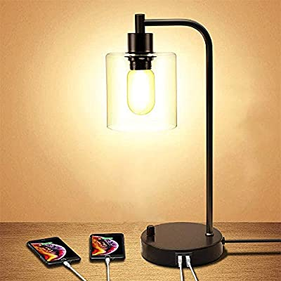 Industrial Table Lamp, Fully Dimmable Modern Nightstand Lamp with Dual USB Port, Glass Shade Table Lamps for Bedroom Living Room Office, 6W 2700K Dimmable LED Edison Bulb Included
