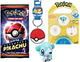 Micro Cubchoo Pokemon Figure Ice-Type Go Bundled with Ready to Battle Legendary Character Trainer Poke Ball Keychain Backpack Hanger & Petite Pals + Trading Card Game Pack 3 Items