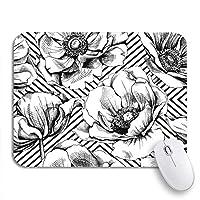 NINEHASA 可愛いマウスパッド 幾何学的な黒と白の花柄滑り止めラバーバッキングコンピューターマウスパッドノートブックマウスマットのパターンアネモネ