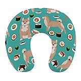 Soft Memory Foam Reisekissen, U-förmiges Nackenkissen mit abwaschbarem Bezug unterstützt Nacken- und Schmerzlinderung, Shiba Inu und Sushi